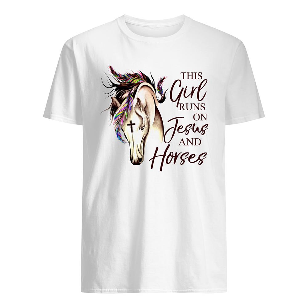 This girl runs on jesus and horses mens shirt