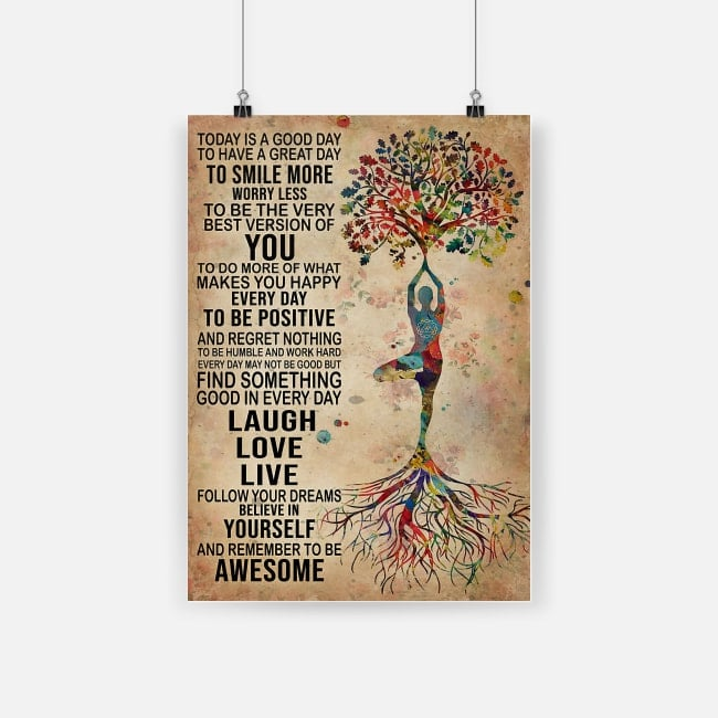 Tree yoga find something good in everyday laugh love live portrait poster 1