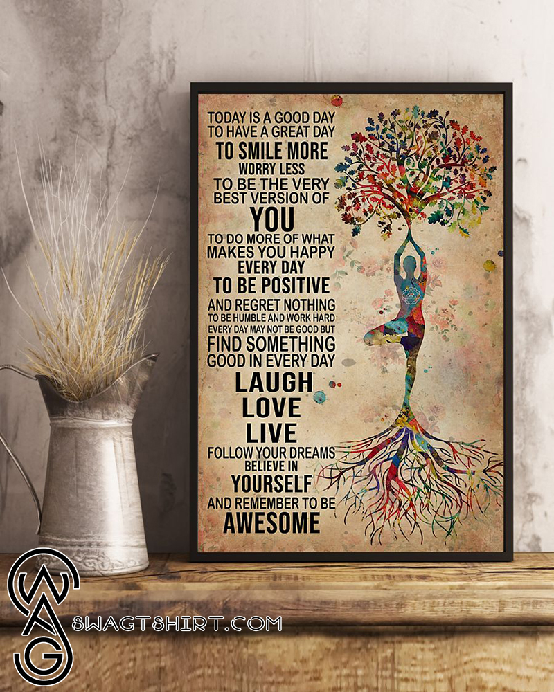 Tree yoga find something good in everyday laugh love live portrait poster