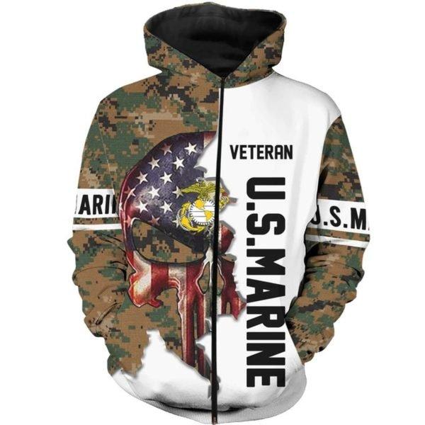 US marine veteran skull camo full printing hoodie 1