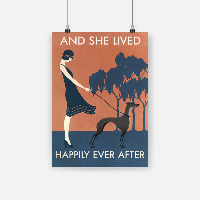 Vintage girl she lived happily greyhound poster 1