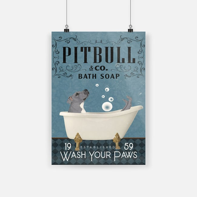 Wall art pitbull dog bath soap poster 4