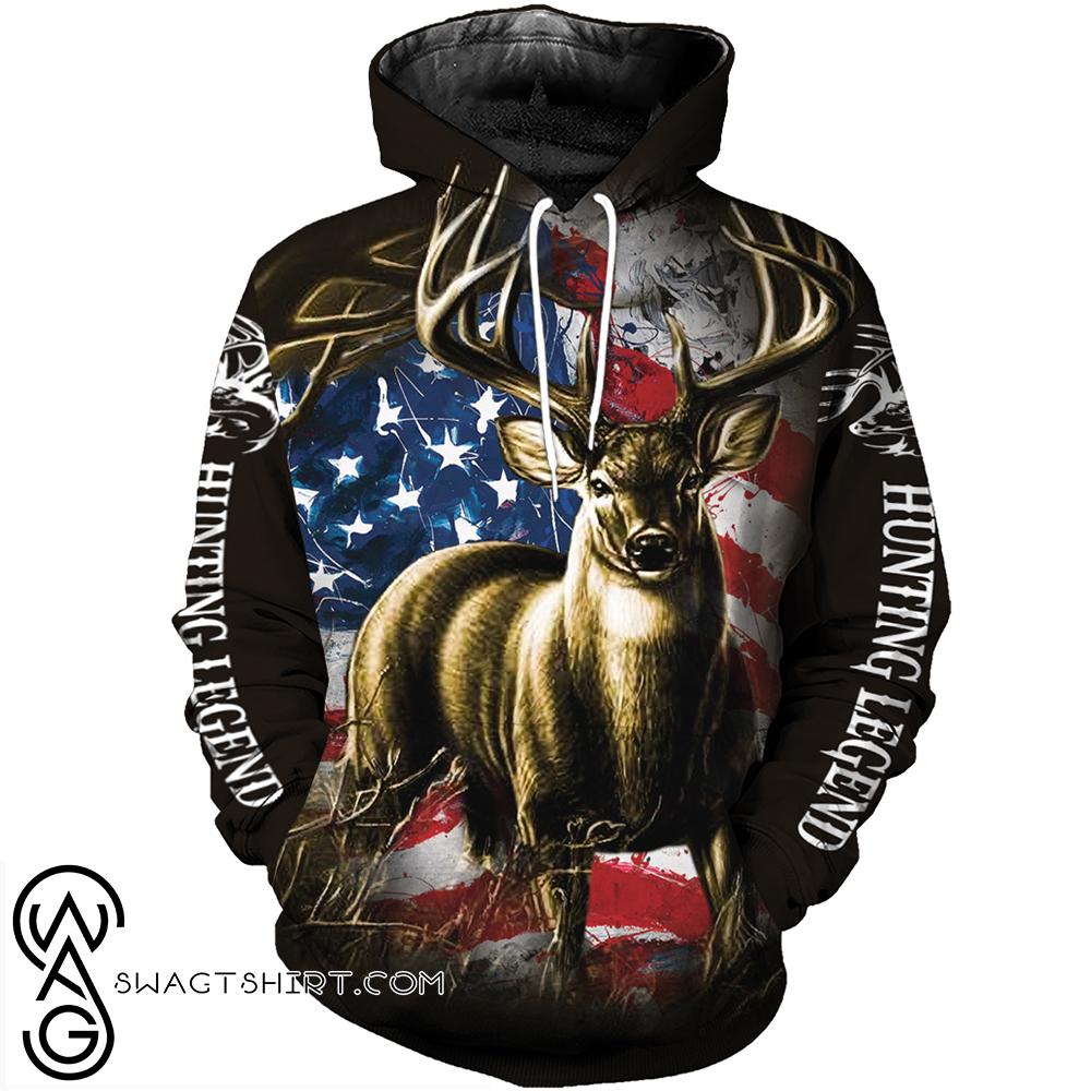 American flag deer hunting camo full over print shirt