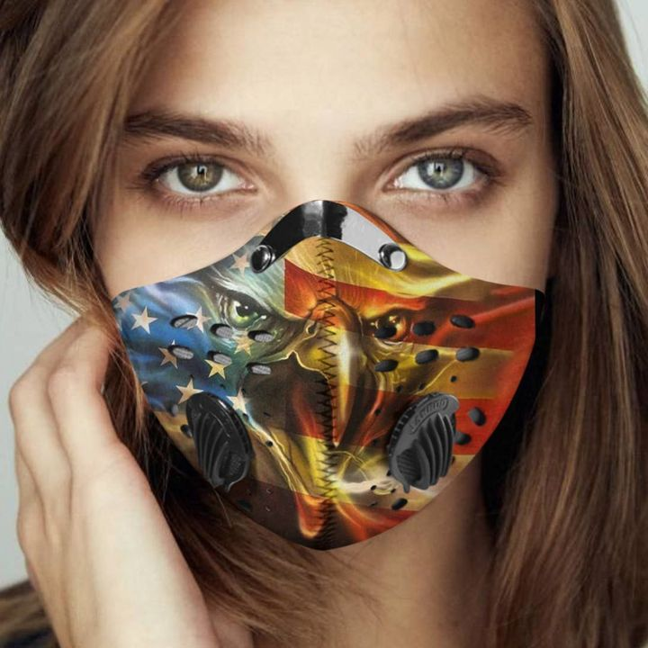 American flag eagle filter activated carbon face mask 2