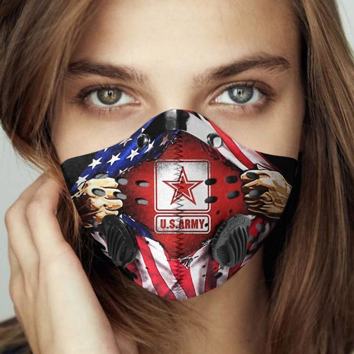 American flag us army carbon pm 2,5 face mask 4