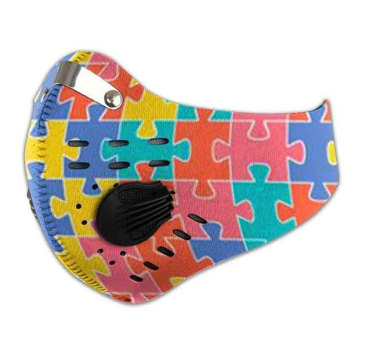 Autism awareness filter activated carbon face mask 4