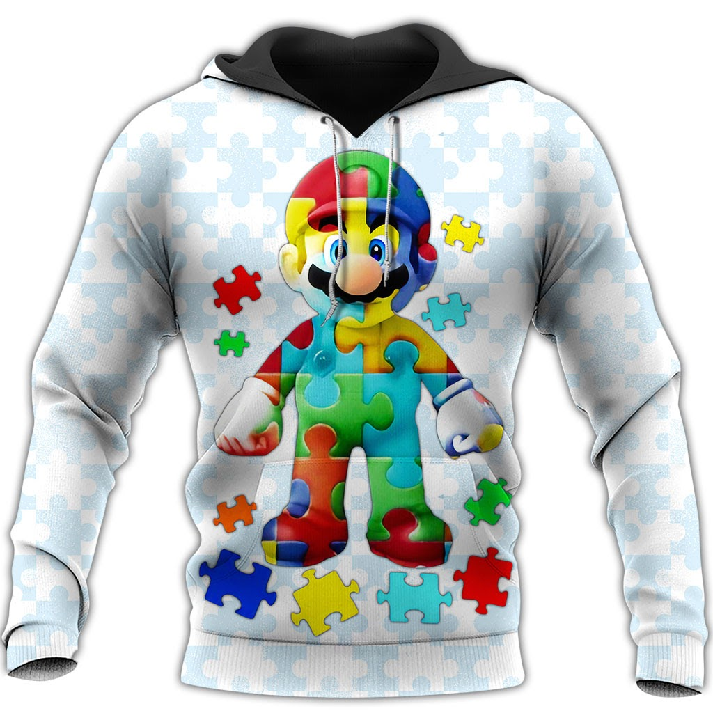 Autism awareness mario full over printed hoodie