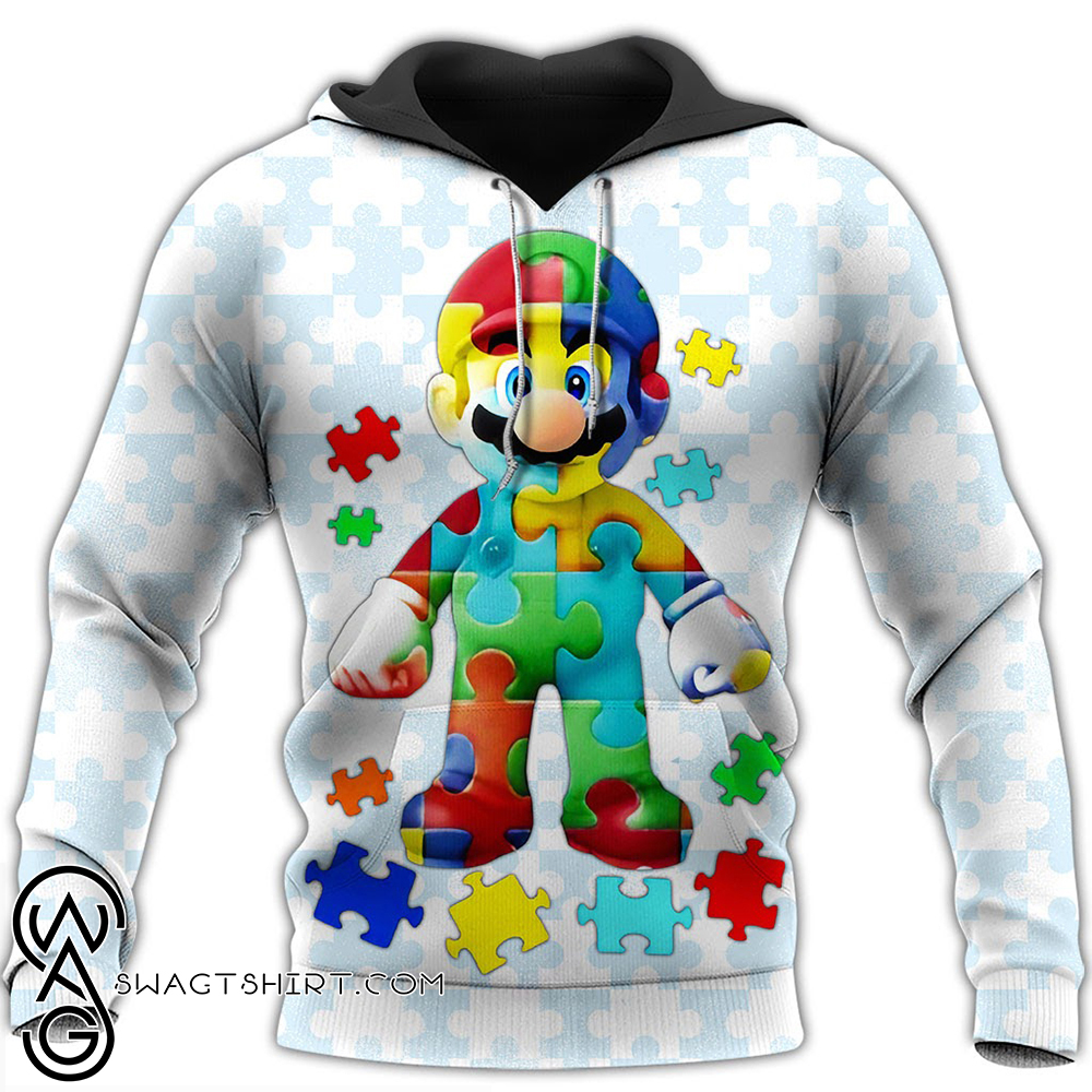 Autism awareness mario full over printed shirt