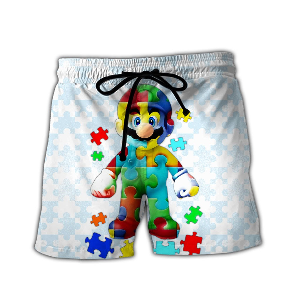 Autism awareness mario full over printed shorts
