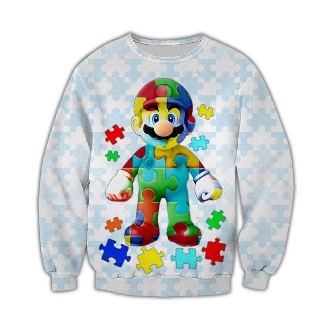 Autism awareness mario full over printed sweatshirt