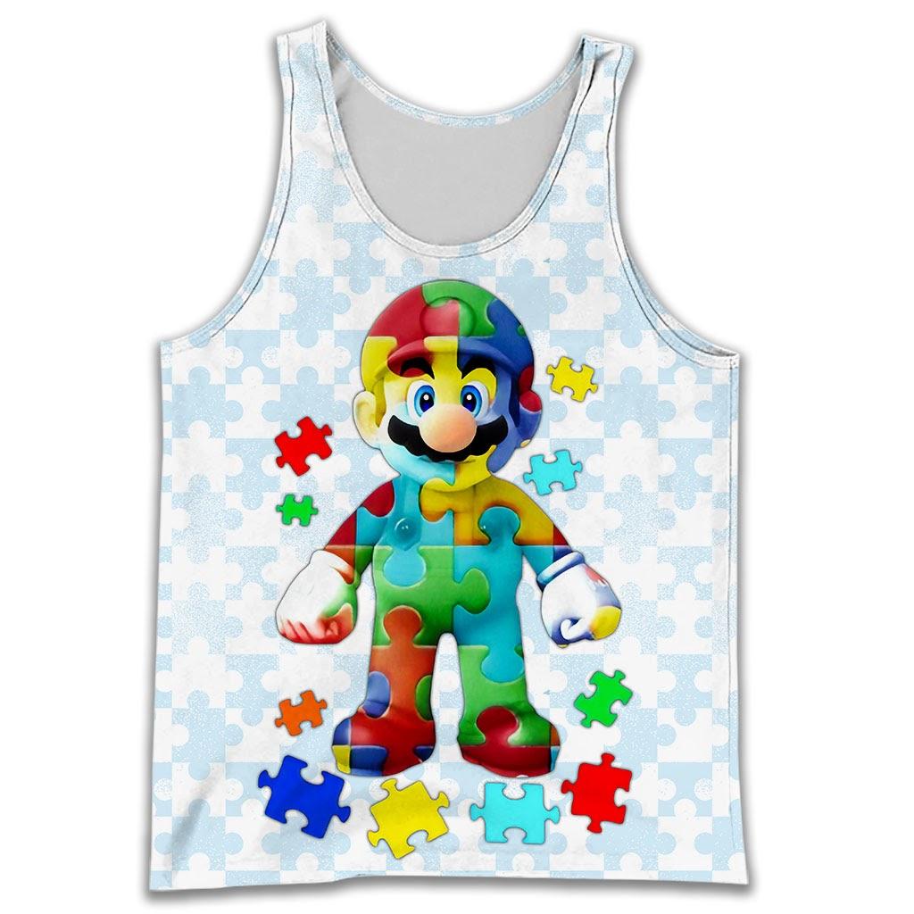 Autism awareness mario full over printed tank top