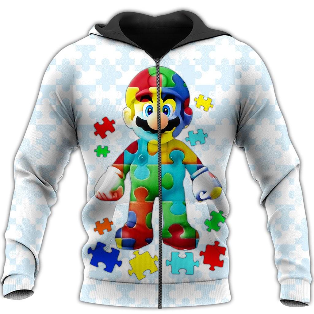 Autism awareness mario full over printed zip hoodie