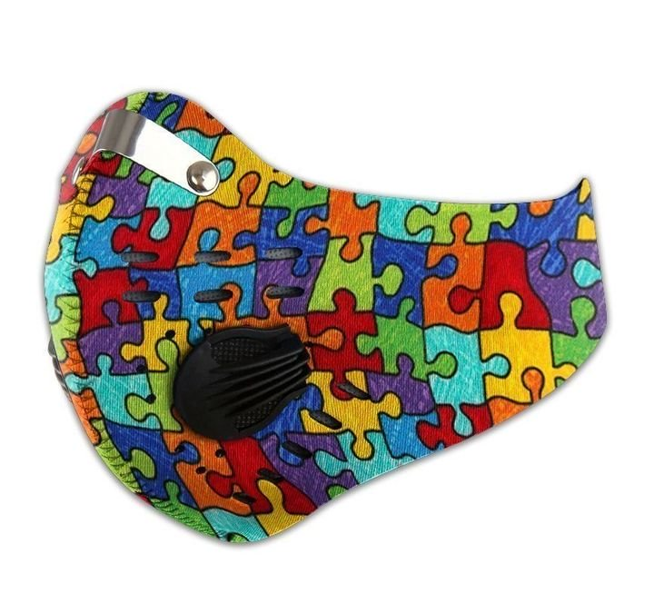 Autism awareness puzzle pieces carbon pm 2,5 face mask 4