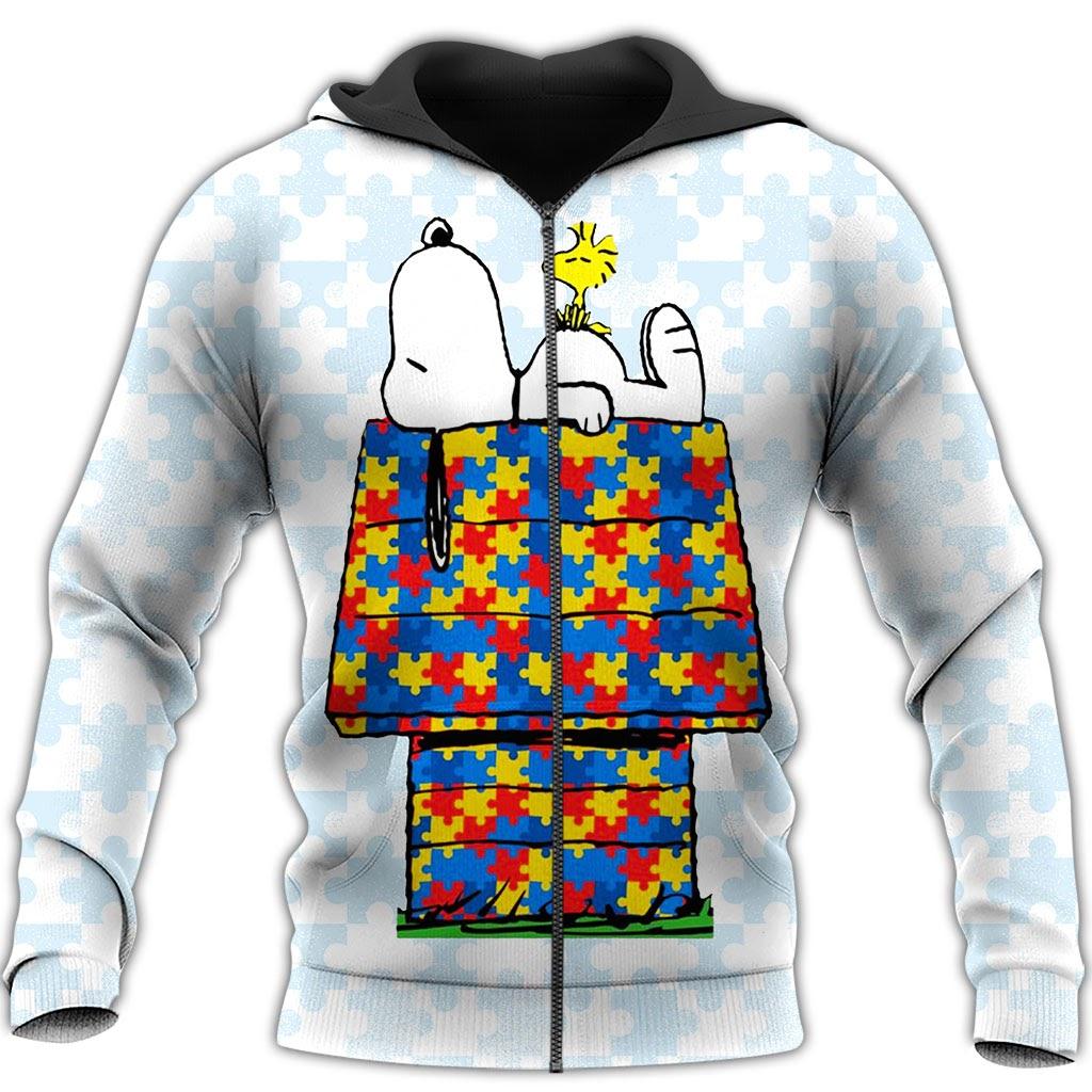 Autism awareness snoopy full over print zip hoodie