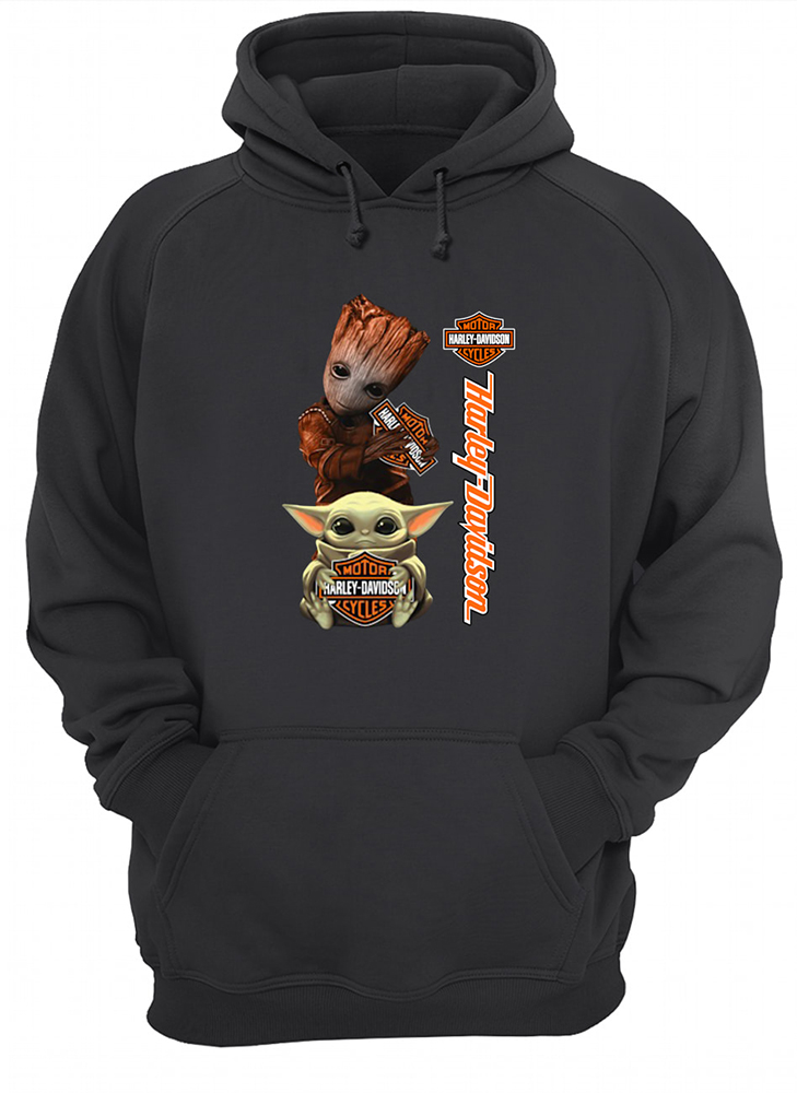 Baby yoda and baby groot hold harley-davidson hoodie