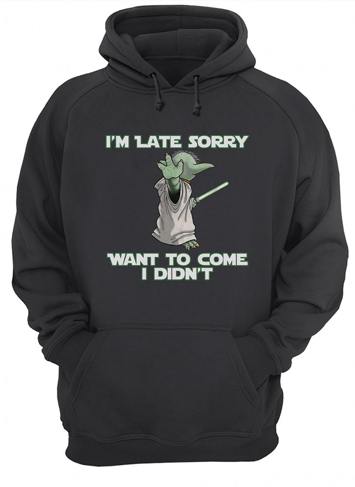 Baby yoda i'm late sorry want to come i didn't hoodie