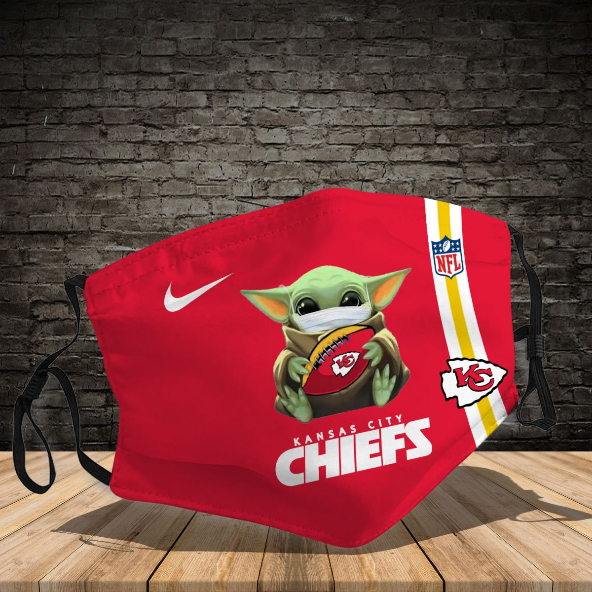 Baby yoda kansas city chiefs full printing face mask 3