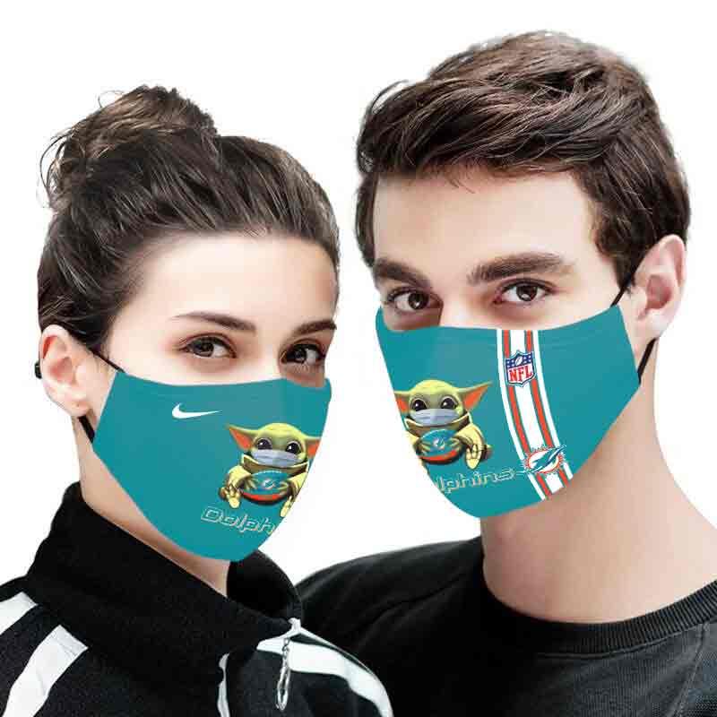 Baby yoda miami dolphins full printing face mask 2