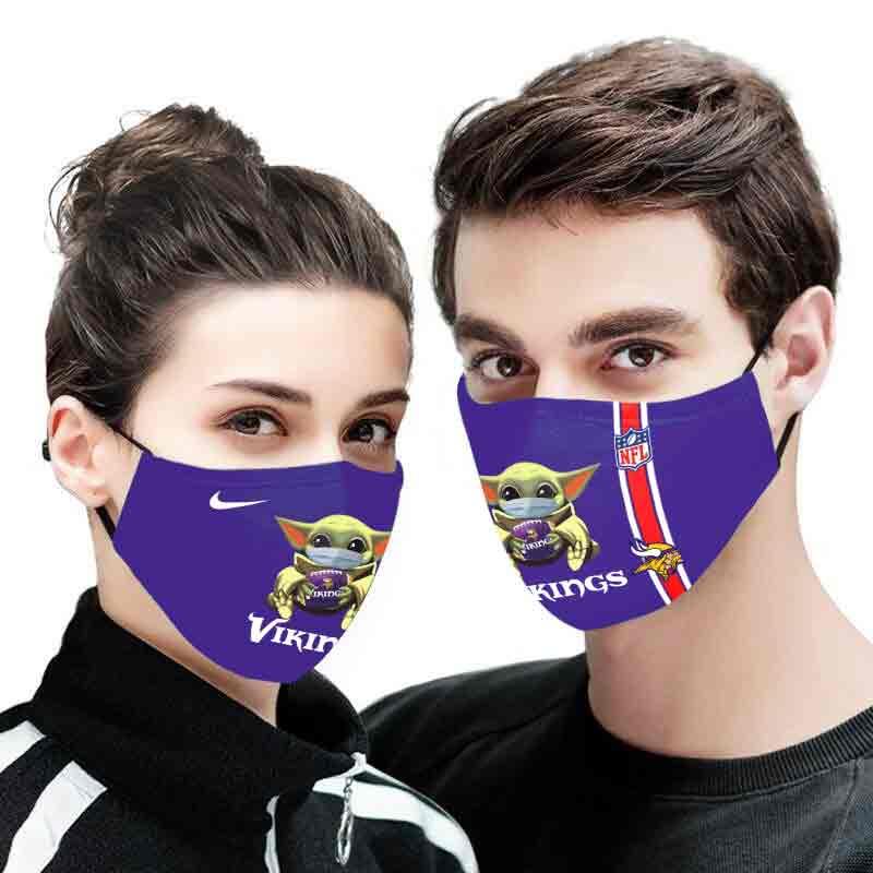 Baby yoda minnesota vikings full printing face mask 3