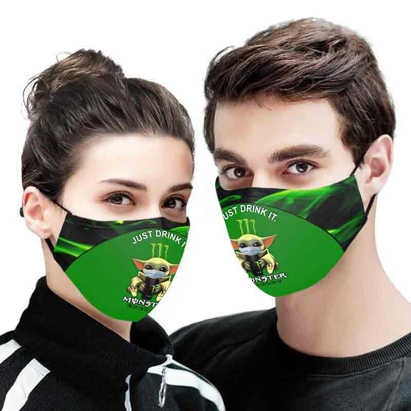 Baby yoda monster energy full printing face mask 2