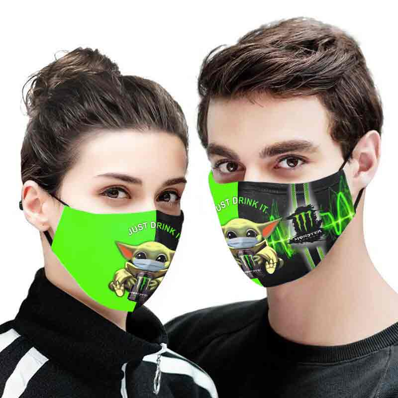 Baby yoda monster energy just drink it full printing face mask 2