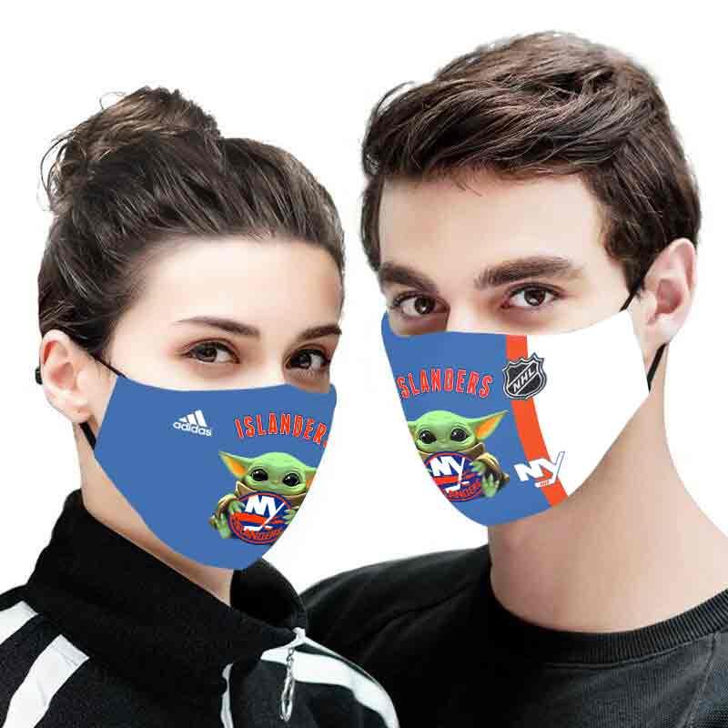 Baby yoda new york islanders full printing face mask 1