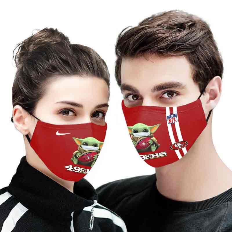 Baby yoda san francisco 49ers full printing face mask 2