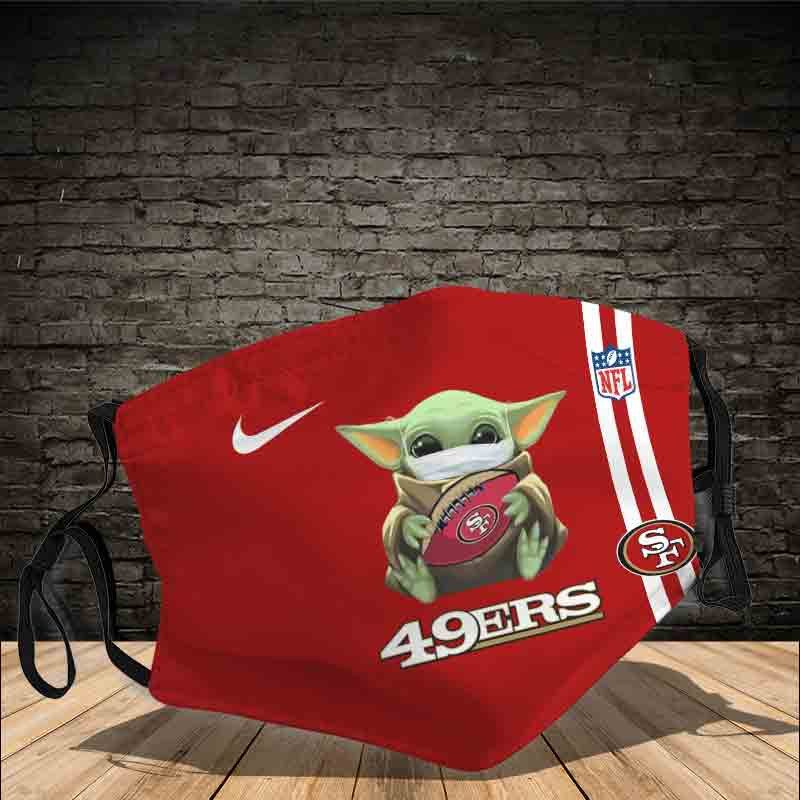 Baby yoda san francisco 49ers full printing face mask 4