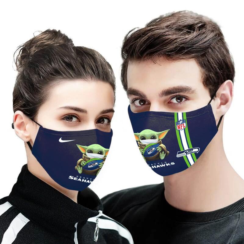 Baby yoda seattle seahawks full printing face mask 3