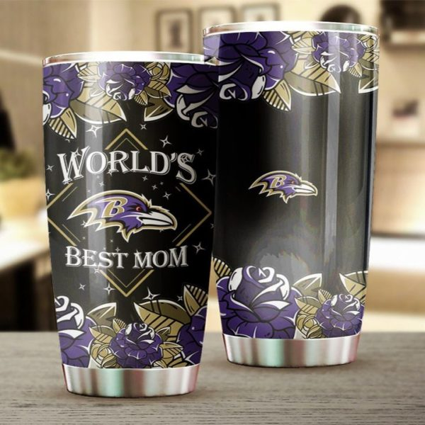 Baltimore ravens world's best mom all over print steel tumbler 2