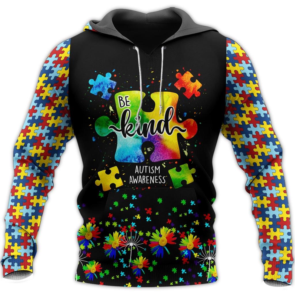 Be kind autism awareness full over print hoodie