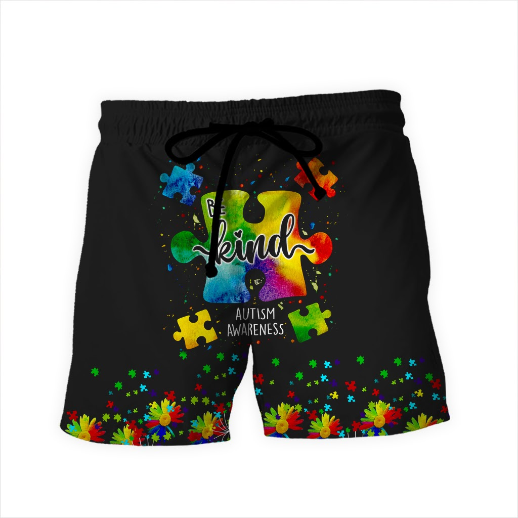 Be kind autism awareness full over print shorts