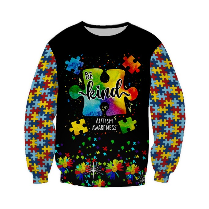 Be kind autism awareness full over print sweatshirt