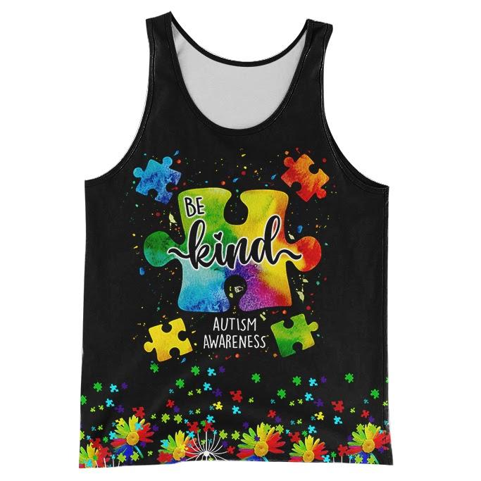 Be kind autism awareness full over print tank top
