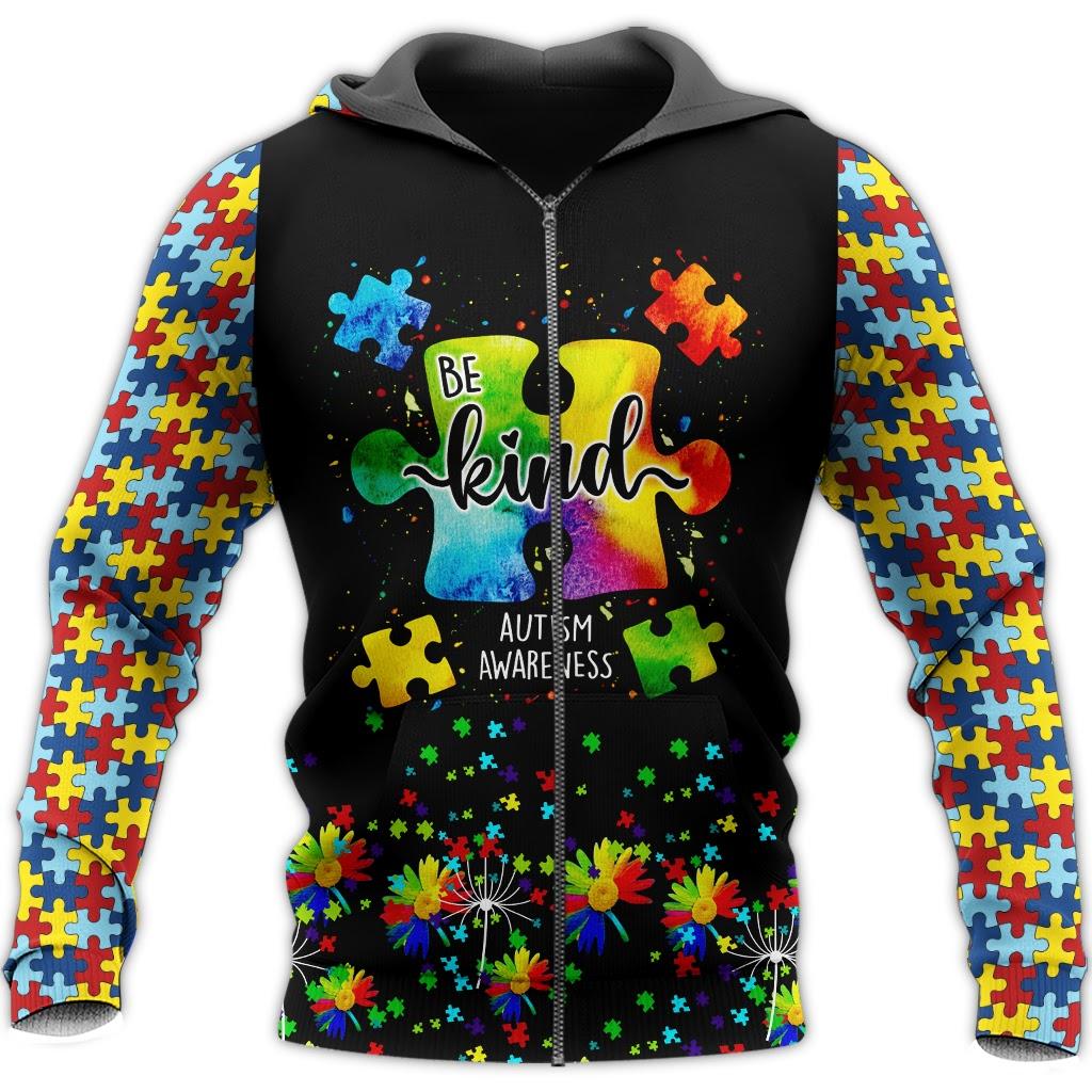 Be kind autism awareness full over print zip hoodie