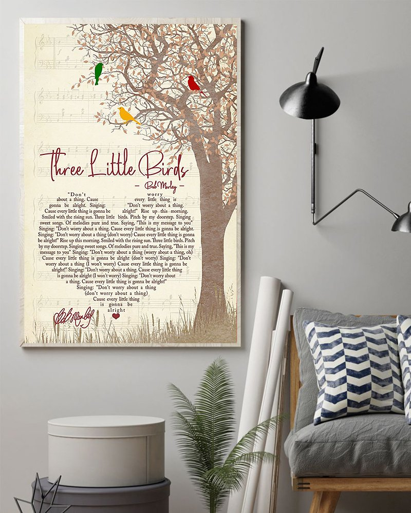 Bob marley three little birds lyrics poster 3
