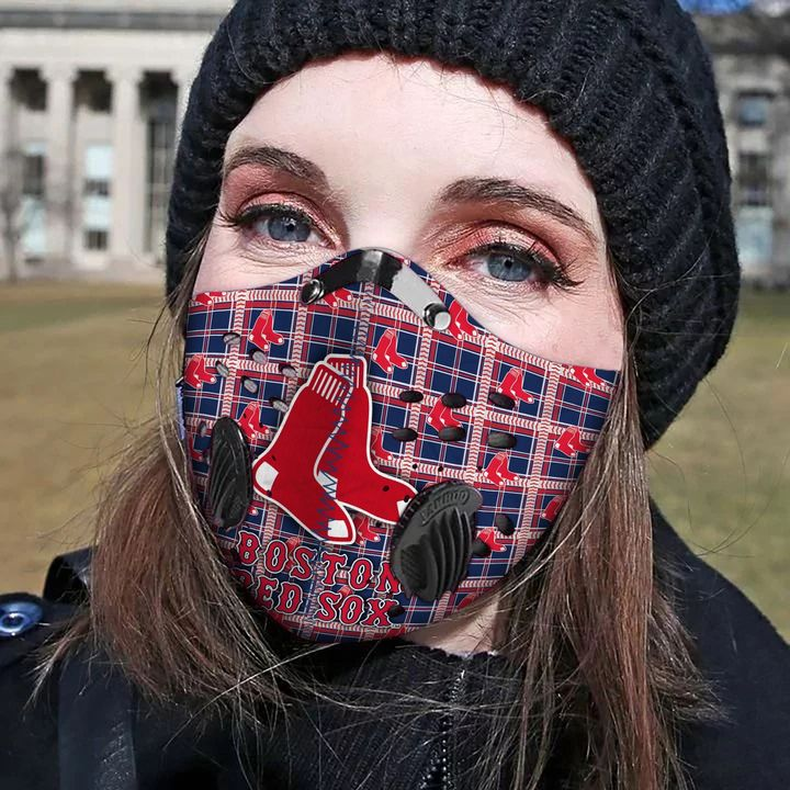 Boston red sox filter activated carbon face mask 2