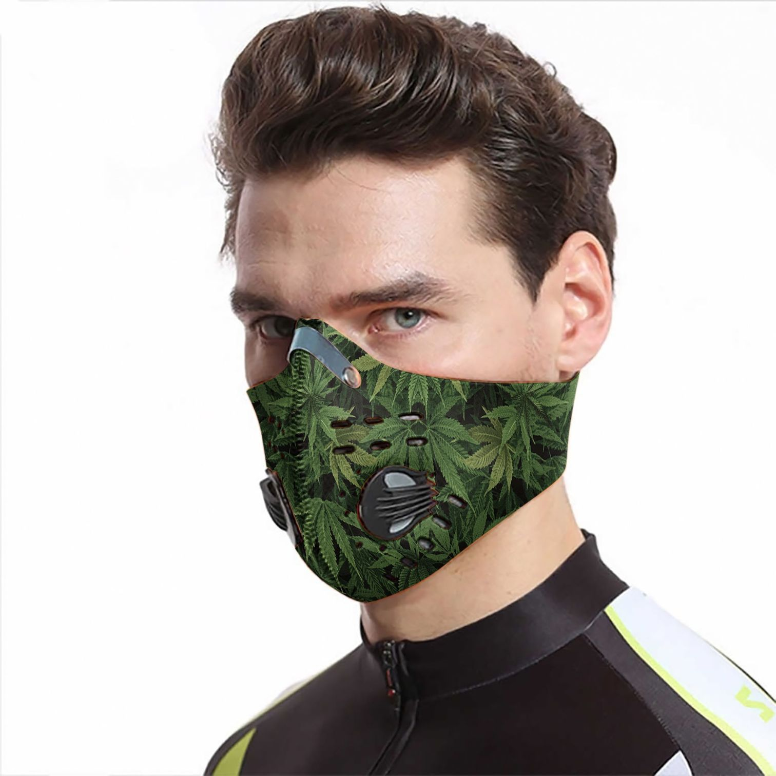Cannabis leaves carbon pm 2,5 face mask 1