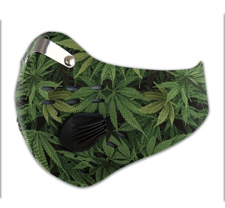 Cannabis leaves carbon pm 2,5 face mask 3
