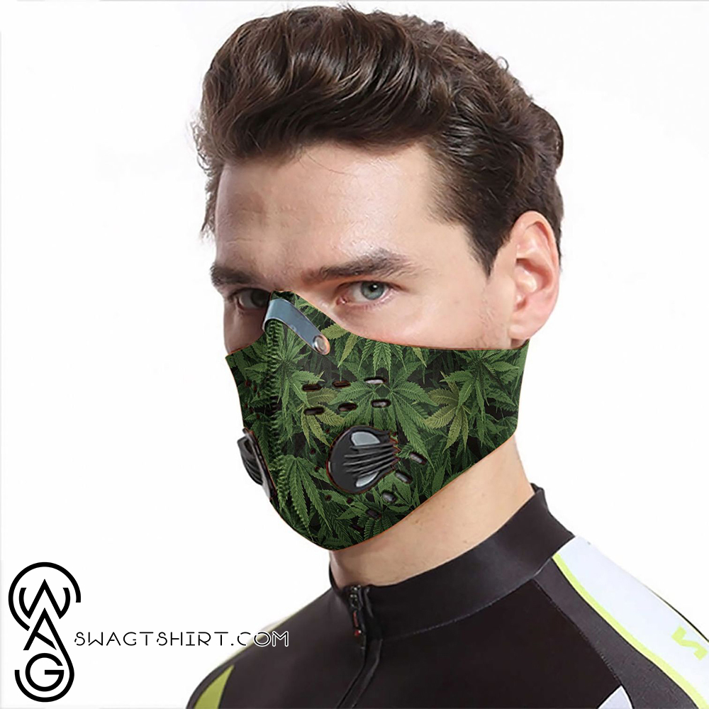 Cannabis leaves carbon pm 2,5 face mask