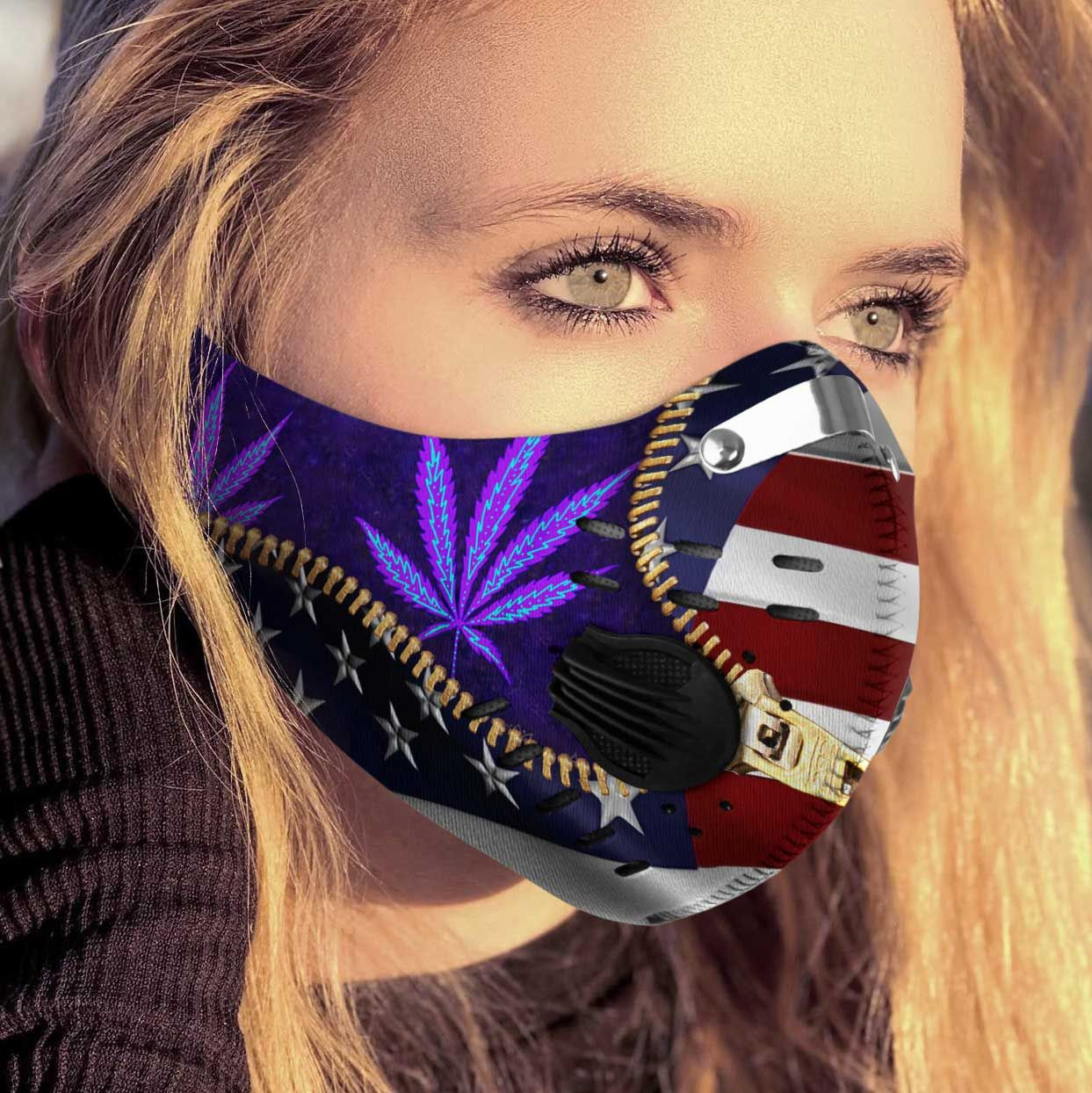 Cannabis purple leaves carbon pm 2,5 face mask 2