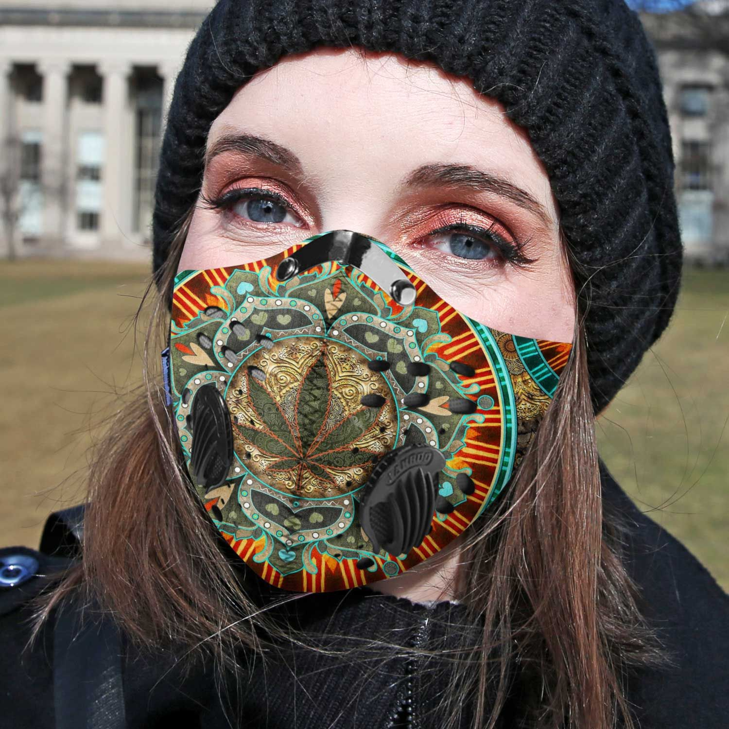 Cannabis weed sassy carbon pm 2,5 face mask 1