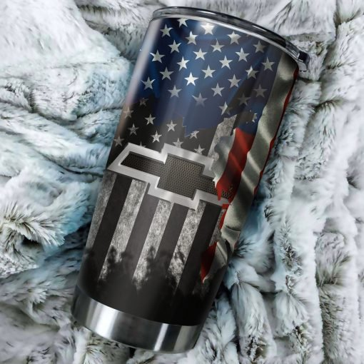 Chevrolet american flag all over printed steel tumbler 1