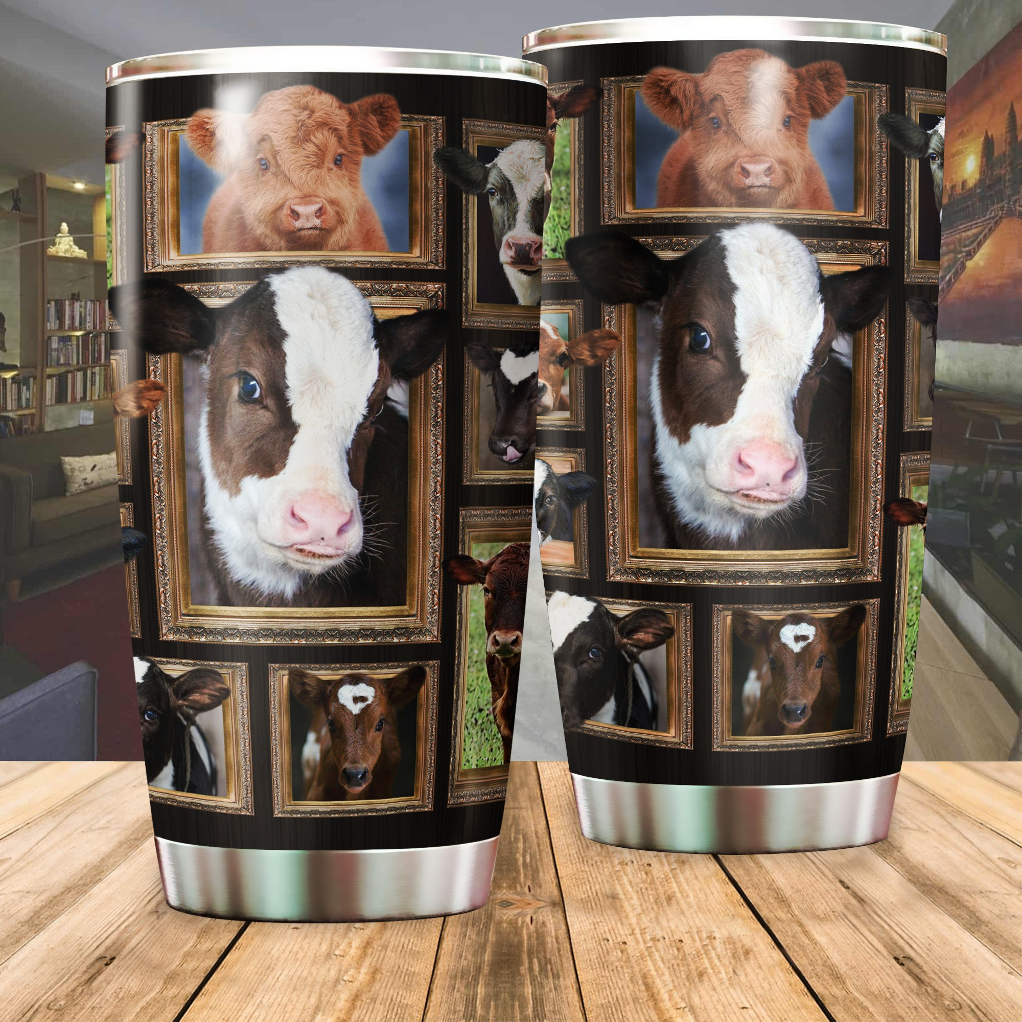Cow heifer all over printed tumbler 3