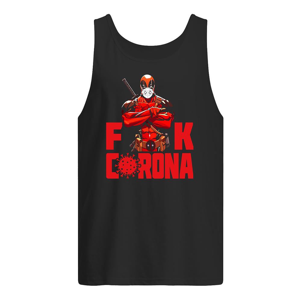 Deadpool with face mask fuck coronavirus tank top