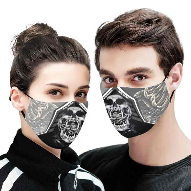 Deadth skull harley-davidson motorcycles full printing face mask 1