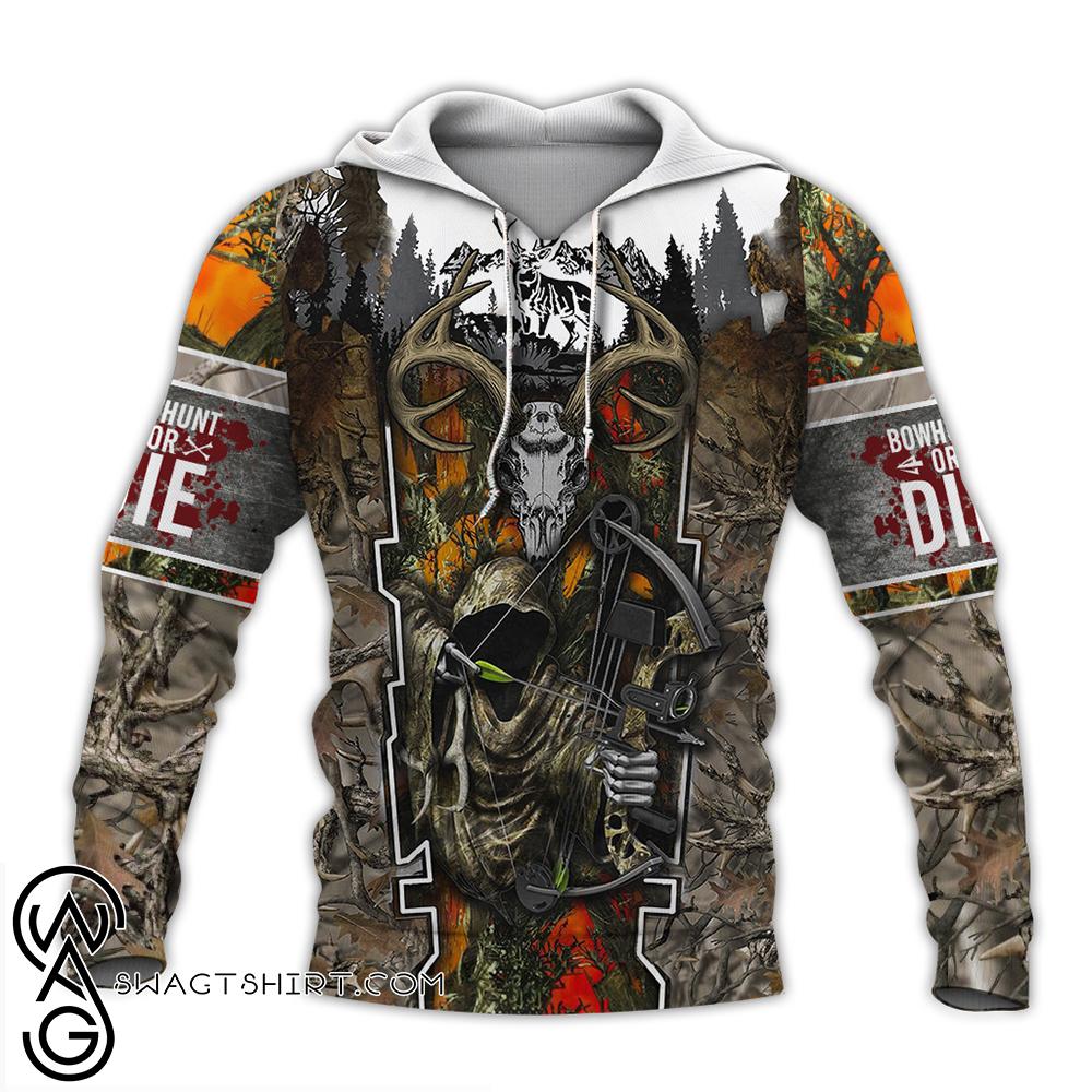 Death hunter hunting camo full over print shirt