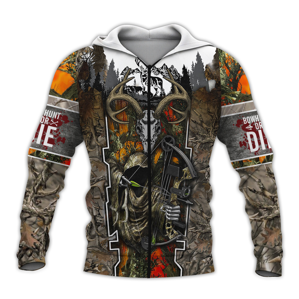 Death hunter hunting camo full over print zip hoodie