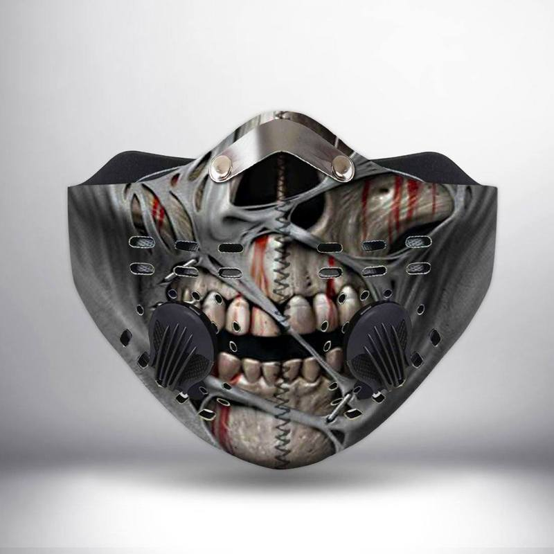 Death skull face filter activated carbon face mask 2
