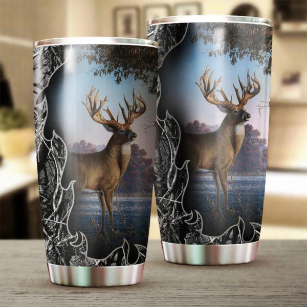 Deer hunting all over printed steel tumbler 1